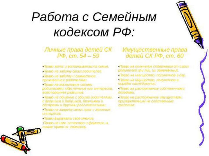 Работа с семейным кодексом рф