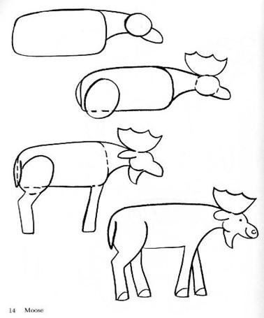 Схема рисования лося