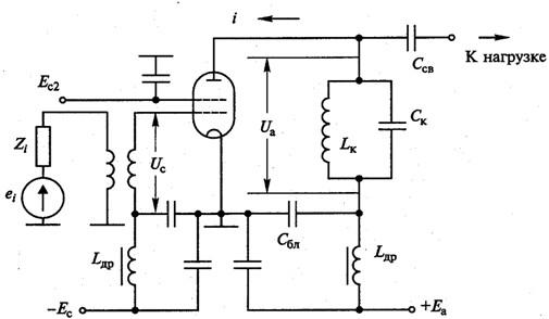 Типовая схема лампового ГВВ
