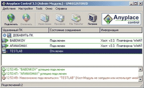 Рис. 1. Главное окно программы Anyplace Control 3.3 с отображаемым списком