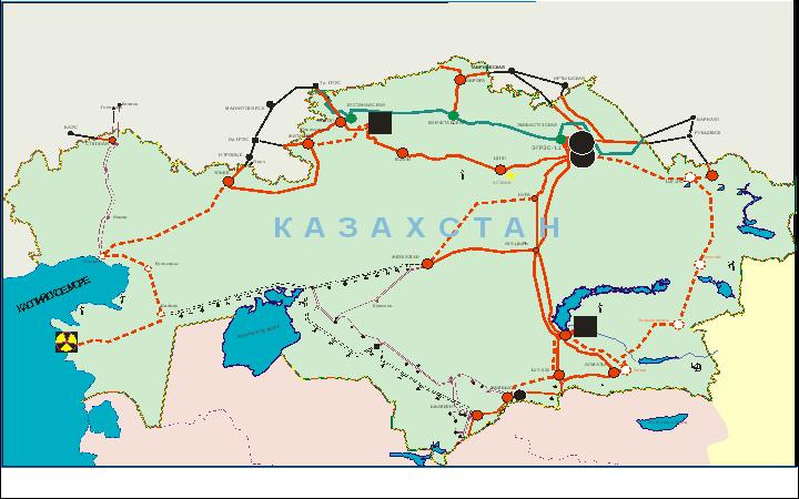 Карта-схема ЕЭС РК до 2025