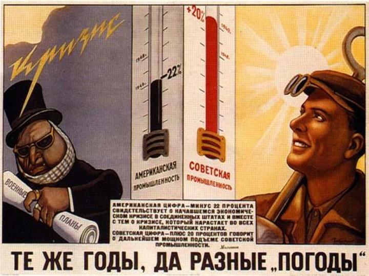 Советский плакат конца 40-х годов со сравнением динамики развитися советской и американской промышленности