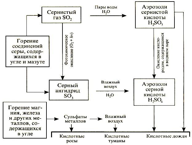 Схема образования кислотных