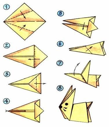 Схемы оригами зайцаСхемы