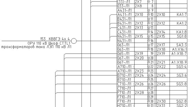 Схема подключения рядов