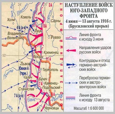 карта Брусиловский прорыв