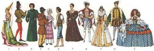 Европейская одежда XV - XVII веков 1-3 - 2-я половина XV века, 4-6 - XIV ве